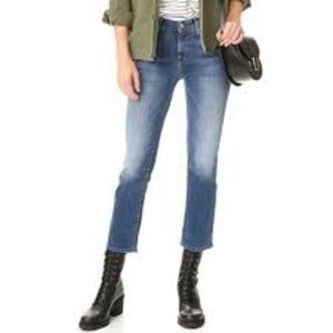 7 For All Mankind Frayed Cropped Bootcut Jeans 25